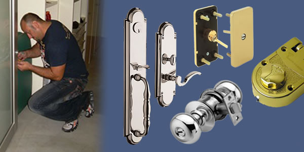 Guy fixing a door lock and different kinds of locks banner